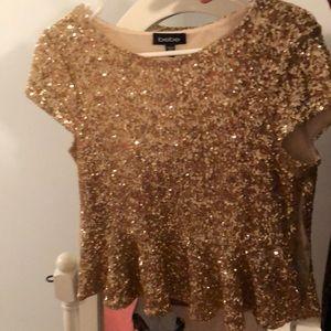 Bebe gold sequin peplum blouse - size Medium